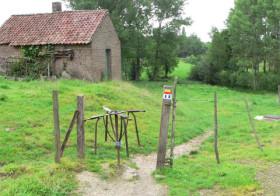 Wandelen over Krijtlandpad door het Limburgse land.