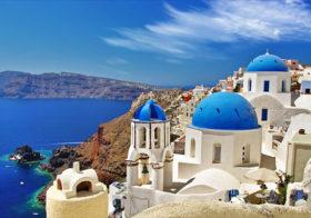 Zonvakanties op het eiland Santorini in Griekenland